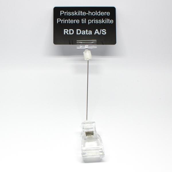Prisskilteholder transparent lang med klemme, længde: 190 mm. Køb den RD Data