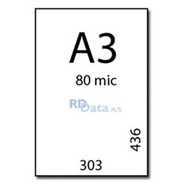 A3 lamineringslommer, 80 mic./my. 100 stk. pr. pakke. Mål: 303 x 436 mm. Vægt: 2,7 kg pr. pakke. Alt i plastkort, kortprintere og tilbehør hos RD Data
