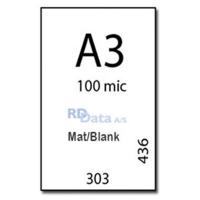 A3 lamineringslommer, 100 mic./my. mat/blank. 100 stk. pr. pakke Mål: 303 x 436 mm. Vægt: 3,2 kg pr. pakke. Alt i plastkort, kortprintere og tilbehør hos RD Data