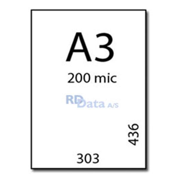 A3 lamineringslommer, 200 mic./my. 100 stk. pr. pakke Mål: 303 x 436 mm. Vægt: 6,4 kg pr. pakke. Alt i plastkort, kortprintere og tilbehør hos RD Data