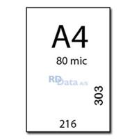 A4 lamineringslommer, 80 mic./my. 100 stk. pr. pakke  Mål: 216 x 303 mm.  Vægt: 1,4 kg pr. pakke. Alt i plastkort, kortprintere og tilbehør hos RD Data