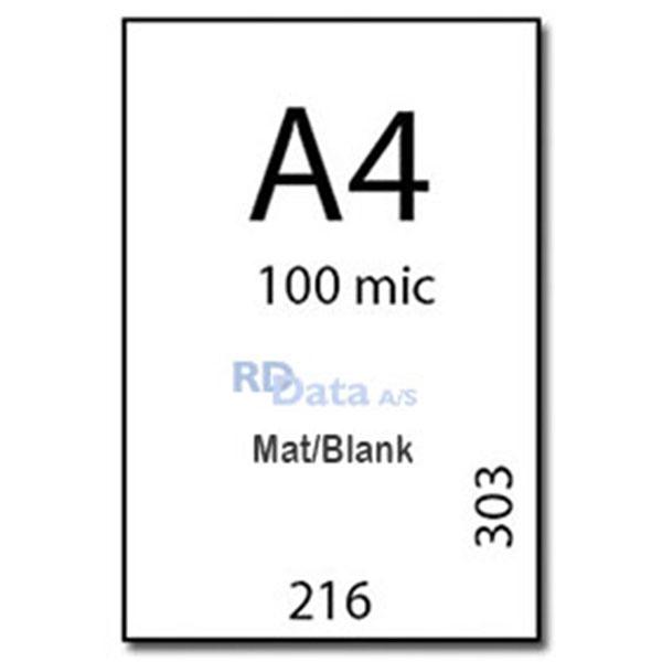 A4 lamineringslommer, 100 mic./my. mat/blank. 100 stk. pr. pakke Mål: 216 x 303 mm. Vægt: 1,7 kg. pr. pakke.Alt i plastkort, kortprintere og tilbehør hos RD Data