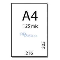 A4 lamineringslommer, 125 mic./my. 100 stk. pr. pakke Mål: 216 x 303 mm. Vægt: 2,1 kg. pr. pakke. Alt i plastkort, kortprintere og tilbehør hos RD Data