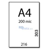 A4 lamineringslommer, 200 mic./my. 100 stk. pr. pakke Mål: 216 x 303 mm. Vægt: 3,2 kg. pr. pakke. Alt i plastkort, kortprintere og tilbehør hos RD Data