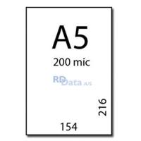 A5 lamineringslommer, 200 mic./ my. 100 stk. pr. pakke Mål: 154 x 216 mm. Vægt: 1,7 kg pr. pakke. Alt i plastkort, kortprintere og tilbehør hos RD Data