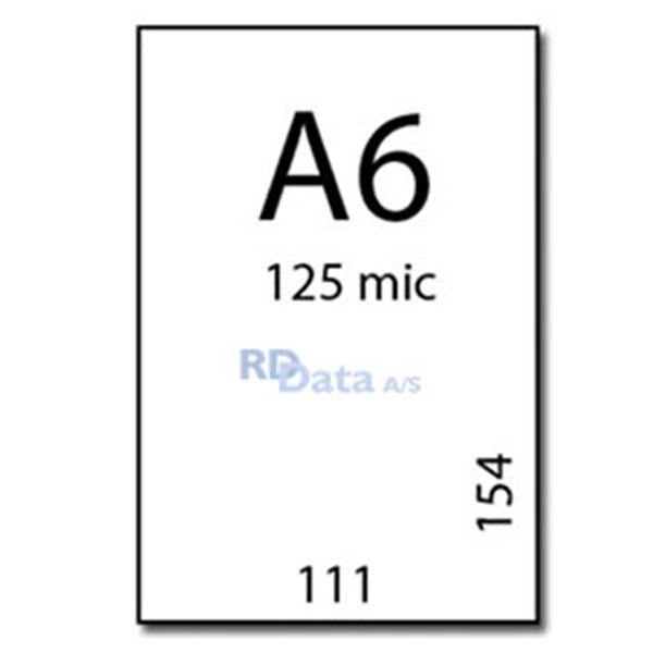 A6 lamineringslommer, 125 mic./my. 100 stk. pr. pakke Mål: 111 x 154 mm. Vægt: 0,3 kg.pr pakke. Alt i plastkort, kortprintere og tilbehør hos RD Data