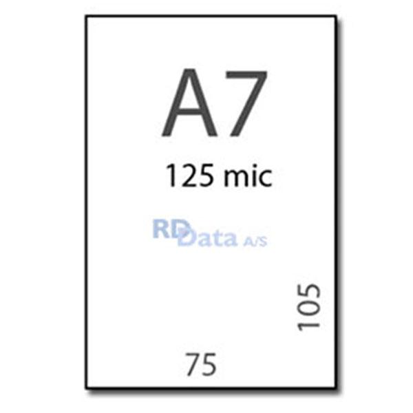 A7 lamineringslommer, 125 mic./my. 100 stk. pr. pakke  Mål: 75 x 105 mm. Vægt: 0,3 kg. pr. pakke. Alt i plastkort, kortprintere og tilbehør hos RD Data