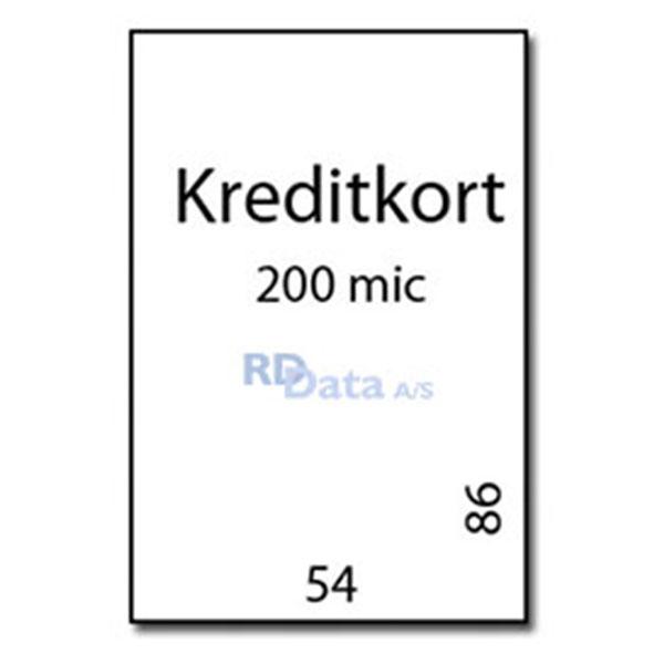 Kreditkort lamineringslommer, 200 mic./my. 100 stk. pr. pakke Mål: 54 x 86 mm. Vægt: 0,3 kg pr. æske. Alt i plastkort, kortprintere og tilbehør hos RD Data