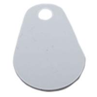 Nøglevedhæng/key change, Prox EM 4200 125 KHz chip PVC. Hvid overflade. Format: 45 x 30 x 1,8 mm. Fra RD Data