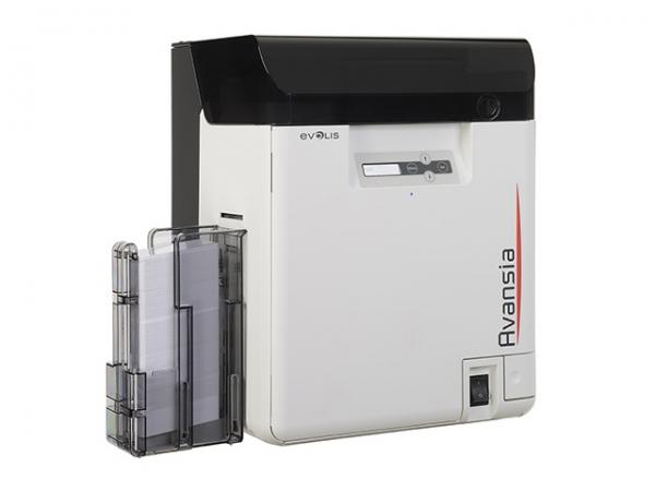 Evolis Avansia Duplex Expert, markedes bedste kortprinter med super skarpt print på 600 dpi, kapacitet 250 kort, USB 2.0 samt netværkstilslutning. Elektronisk sikkerhedslås. 3 års garanti på printeren og livsgaranti på printhoved hos RD Data