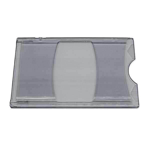 Røgfarvet transparent etui i hård plast, kortholder, transparent, grå, fra RD data