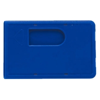 Blå kortholder, blåt etui i hård plast med fingerhul, altid kæmpe udvalg i plastkort og tilbehør hos RD Data