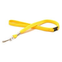 Blød gul lanyard med metalkrog og break-away lås, 12 mm. Stort udvalg i nøglesnore hos RD Data
