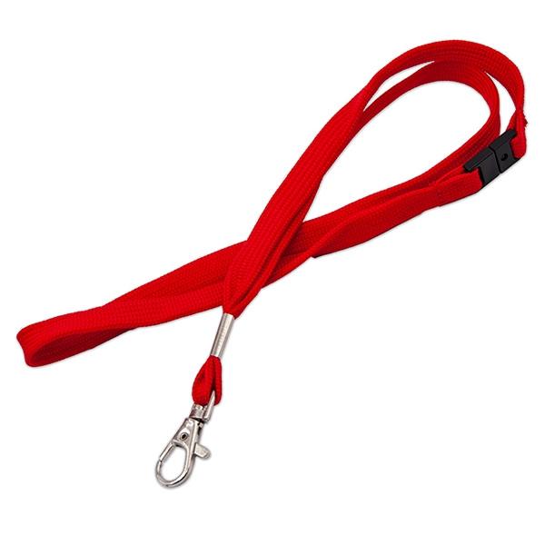Blød rød lanyard med metalkarabinhage og break-away lås, 12 mm. bred, fra RD Data