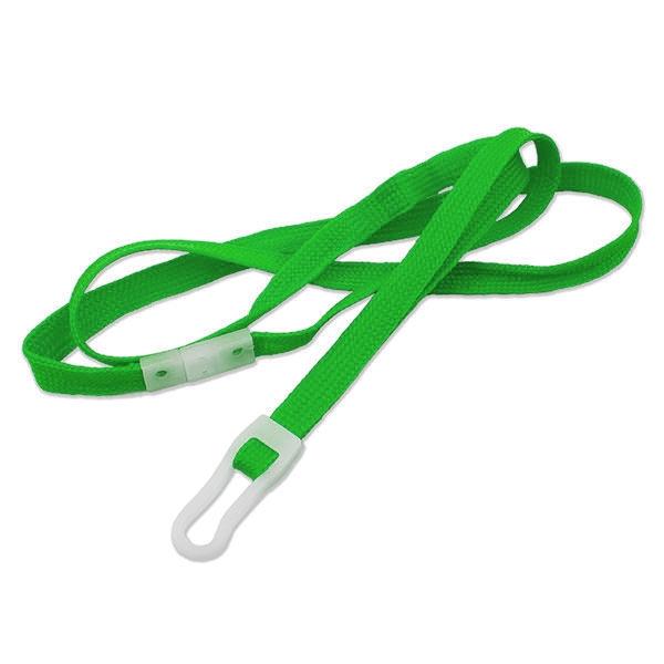 Blød grøn lanyard med hvid plastkrog og break-away lås, 10 mm. Største udvalg og billigste priser hos RD Data