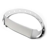 Vinyl armbånd hvide med etiket Længde: 250 mm