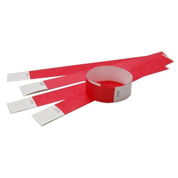 Tyvek armbånd røde med nummer. Længde 255 mm. Bredde 25 mm.