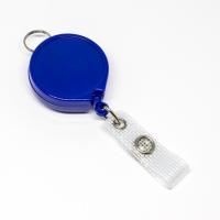 Blå, praktisk 35 mm yoyo med nylonsnor, bælteclip på bagsiden, metaltryklås på båndet og ring til f.eks. en lanyard.