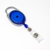 Blå transparent, praktisk og kraftig yoyo med nylonsnor, stærk fjederbelastet metalkrog og metaltryklås på båndet, fra RD Data