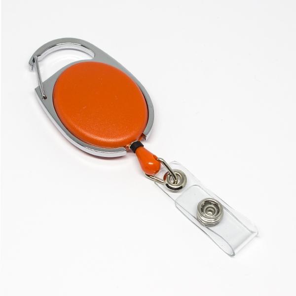 Orange, praktisk og kraftig yoyo med nylonsnor, stærk fjederbelastet metalkrog og metaltryklås på båndet, fra RD Data