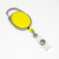 Gul, praktisk og kraftig yoyo med nylonsnor, stærk fjederbelastet metalkrog og metaltryklås på båndet, fra RD Data