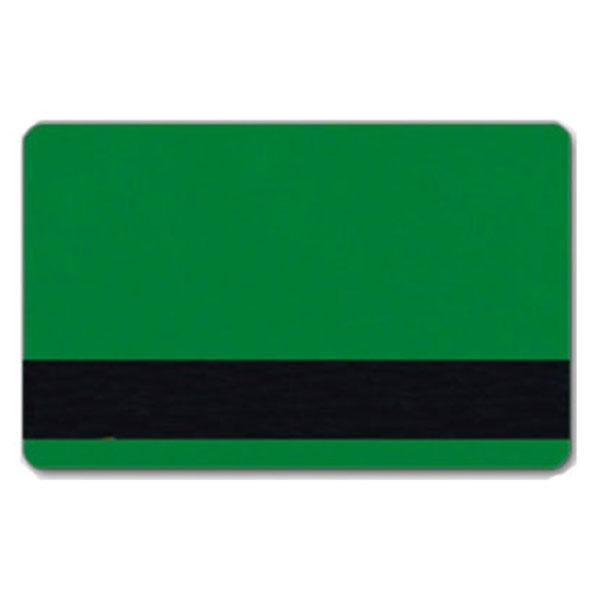Grønt plastkort med blank overflade og HiCo magnetstribe.