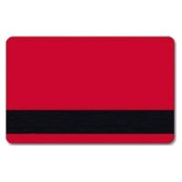Rødt plastkort med blank overflade og HiCo magnetstribe.