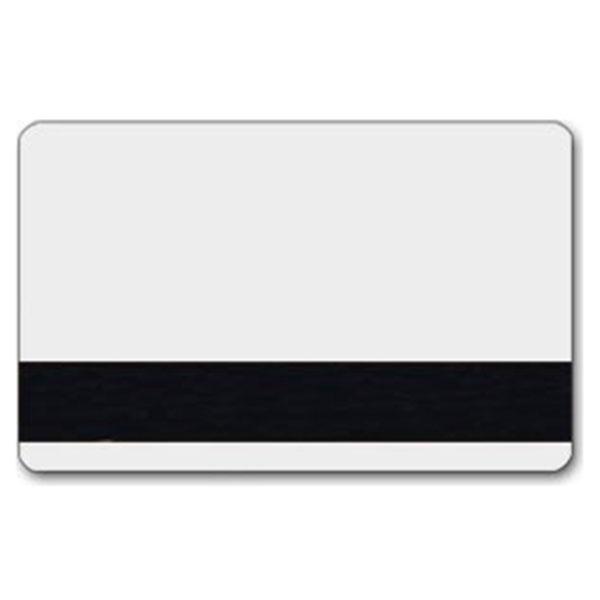 Hvidt plastkort med blank overflade og LoCo magnetstribe.
