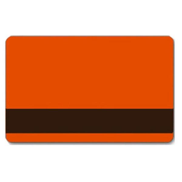 Orange plastkort med blank overflade og LoCo magnetstribe