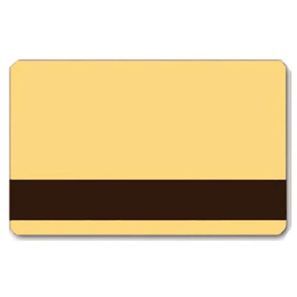 Beige plastkort med blank overflade og LoCo magnetstribe.