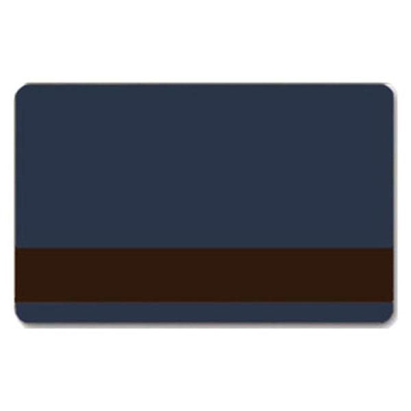 Mørkeblåt plastkort med blank overflade og LoCo magnetstribe, billige plastikkort fra RD Data