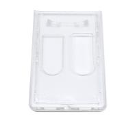 Transparent frosted kortholder i hård plast til 2 kort, vertikal.   Kortholderen kan forsynes med halssnor, seleclips, yoyo m.m.
