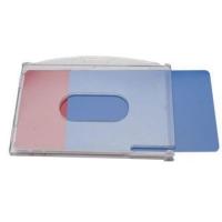 Transparent frosted kortholder i hård plast til 2 kort, horisontal.  Kortholderen kan forsynes med halssnor, seleclips, yoyo m.m.