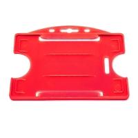 Rød åben kortholder i hård plast til 1 kort, horisontal eller vertikal.  Kortholderen kan forsynes med halssnor, seleclips, yoyo m.m.