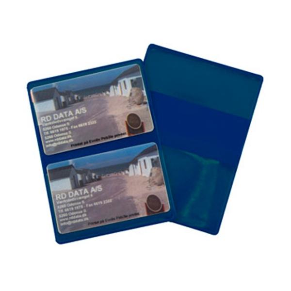 Blåt etui i blød plast, 2-fløjet til 2 kort, fra RD Data