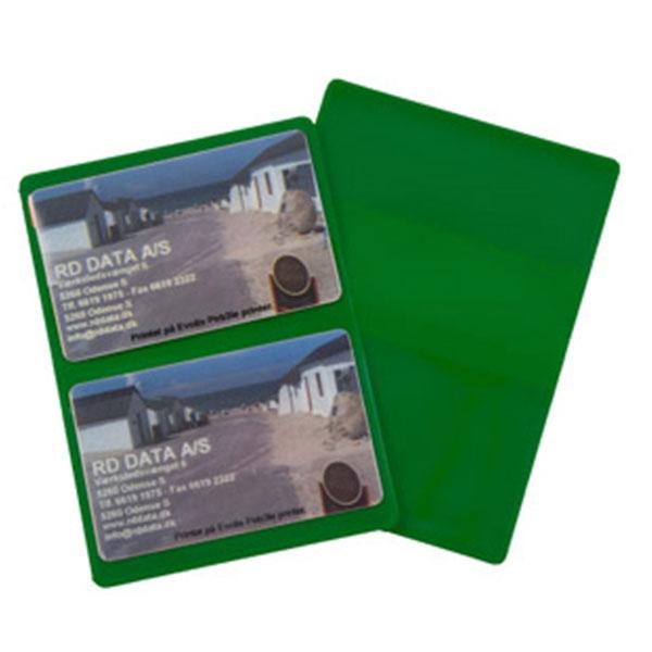 Grønt etui i blød plast, 2-fløjet til 2 kort, fra RD Data