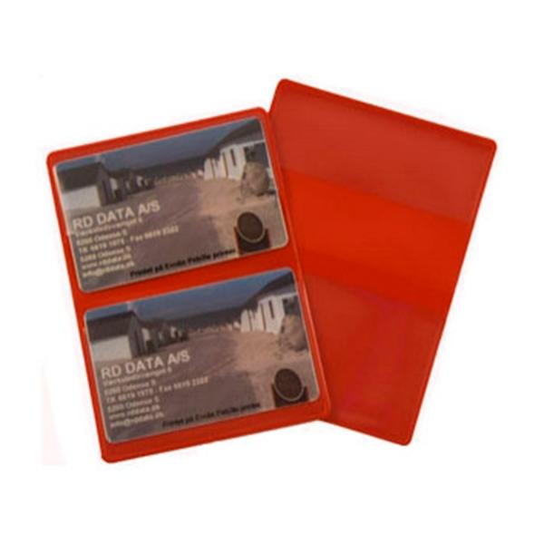 Rødt etui i blød plast, 2-fløjet til 2 kort, fra RD Data