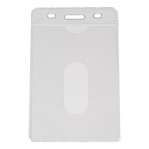 Kortholder i PVC plast, 25 mikron, vertikal til kort i størrelse 54 x 86, standard kort, kan forsynes med halssnor, seleclips, yoyo m.m., fra RD Data