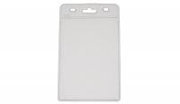 Kortholder i PVC plast, 25 mikron, vertikal til kort i størrelse 86 x 54, standard kort, kan forsynes med halssnor, seleclips, yoyo m.m., fra RD Data