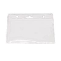 Kortholder i PVC plast, 25 mikron, horisontal til kort i størrelse 86 x 54, standard kort, kan forsynes med halssnor, seleclips, yoyo m.m., fra RD Data