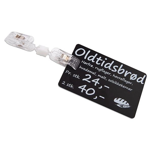 Prisskilteholder transparent med 2 ens klemmer, dreje- og bøjeled, fra RD Data