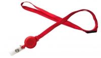 Rød lanyard med yoyo og break-away lås, 10 mm. Stort udvalg i halssnore og yoyo'er hos RD Data