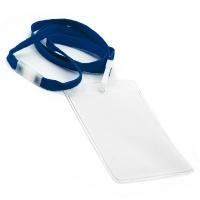 Vertikal kortholder i blød, blank, transparent plast med 10 mm blå halssnor med sikkerhedslås og plastkrog. Passer til standard kort str. 86 x 54 mm. Altid kæmpe udvalg i plastkort, kortholdere, lanyards mm. hos RD Data