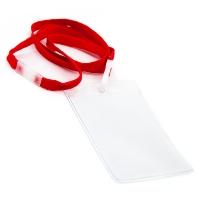 Vertikal kortholder i blød, blank, transparent plast med 10 mm rød halssnor med sikkerhedslås og plastkrog. Passer til standard kort str. 86 x 54 mm. Altid kæmpe udvalg i plastkort, kortholdere, lanyards mm. hos RD Data