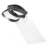 Vertikal kortholder i blød, blank, transparent plast med 10 mm grå halssnor med sikkerhedslås og plastkrog. Passer til standard kort str. 86 x 54 mm. Altid kæmpe udvalg i plastkort, kortholdere, lanyards mm. hos RD Data
