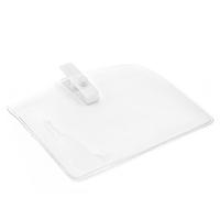 Horisontal kortholder i blød, blank, transparent plast med hvid mini plastclip. Passer til standard kort str. 86 x 54 mm. Stort udvalg i plastkort og kortholdere hos RD Data