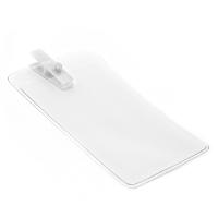 Vertikal kortholder i blød, blank, transparent plast med hvid mini plastclip. Passer til standard kort str. 86 x 54 mm. Stort udvalg i plastkort og kortholdere hos RD Data