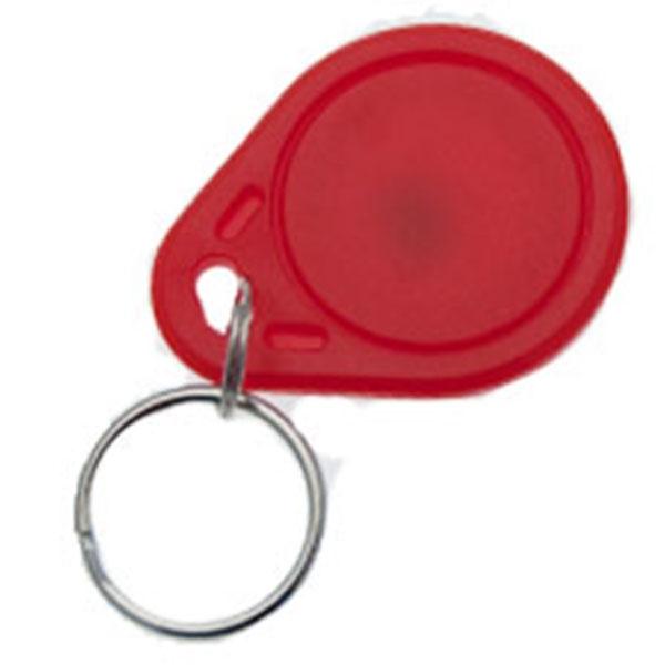 Nøglevedhæng/Key Change med TK4100 kompatibel chip,  Rød/røde overflader Format: 40 x 30 x 3 mm. Denne chip understøtter kortlæsere til EM 4100, EM 4102 og EM 4200. Fra RD Data