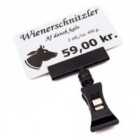 Prisskilteholder med 50 mm hoved og lille klemme, sort